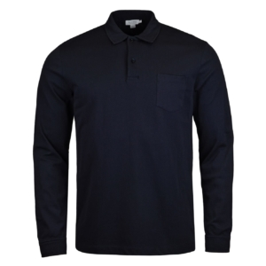 Sunspel Long Sleeve Riviera Polo Navy