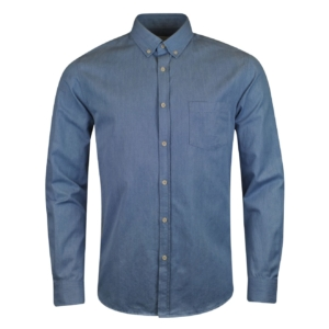 sunspel button down shirt light blue denim