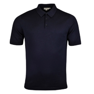Sunspel Short Sleeve Sea Island Cotton Polo Light Navy