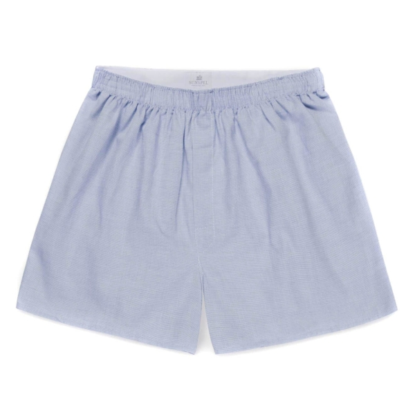 sunspel seasonal printed boxer shorts blue dobby