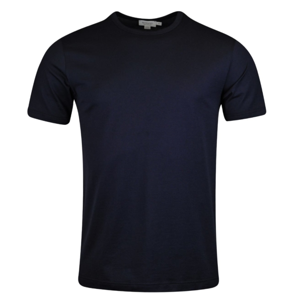 Sunspel Short Sleeve Classic Crew Neck T-Shirt Navy