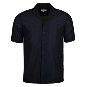 Sunspel Short Sleeve Collar Shirt Navy