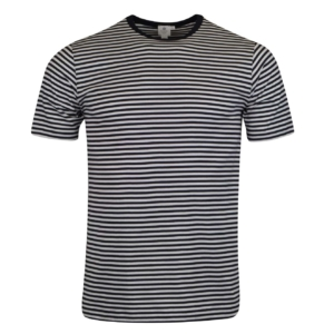 Sunspel Short Sleeve Striped Crew Neck T-Shirt White Navy
