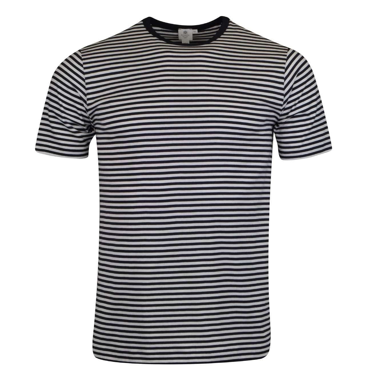 Sunspel Short Sleeve Striped Crew Neck T-Shirt White Navy