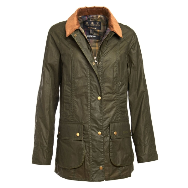 Barbour Womens Lightweight Beadnell 4oz Wax Jacket Archive Olive with Branded Studded Close and Chest Pockets