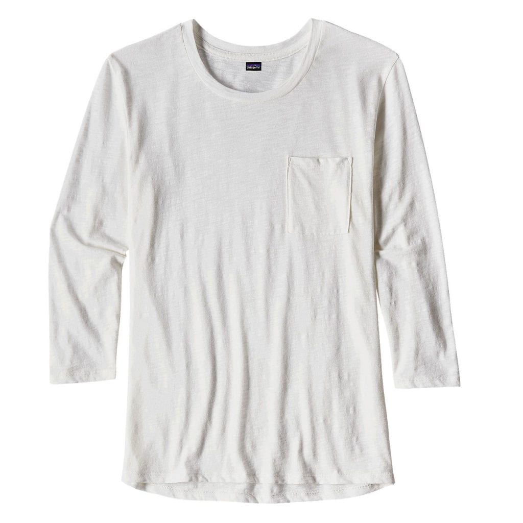 Patagonia Womens Mainstay 3/4 Sleeved Top White