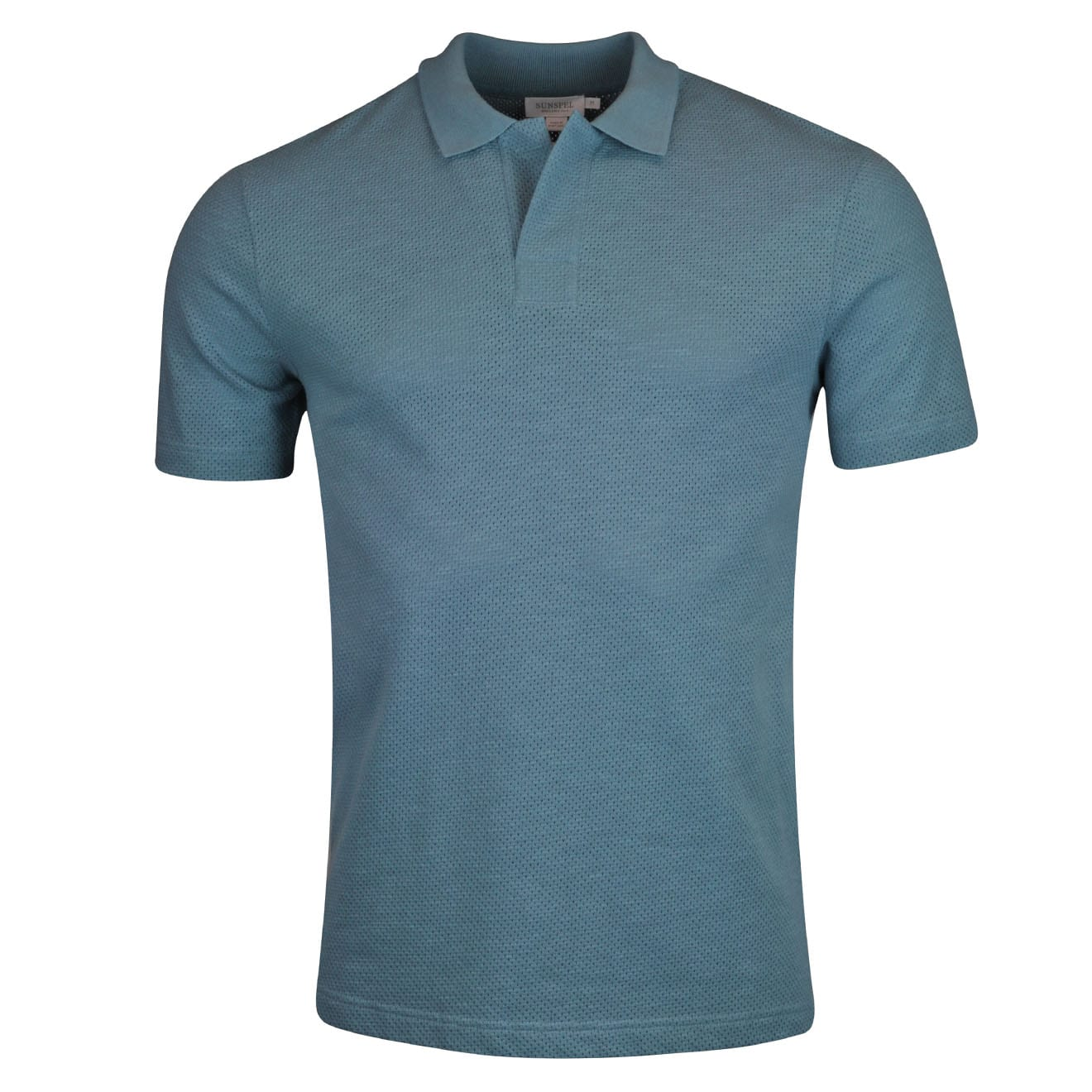 Sunspel buttonless eyelet stitch polo shirt airforce blue for Mens eyelet collar dress shirts