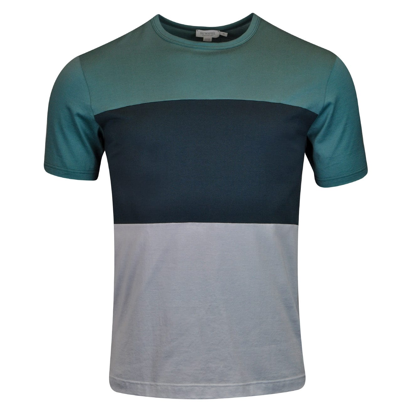 Sunspel Colour Block Crew Neck T-Shirt Green Green Ice