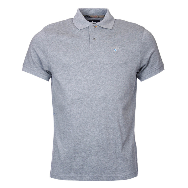 Barbour Tartan Cotton Pique Polo Shirt Grey Marl