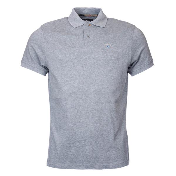 Barbour Tartan Cotton Pique Polo Shirt Grey Marl