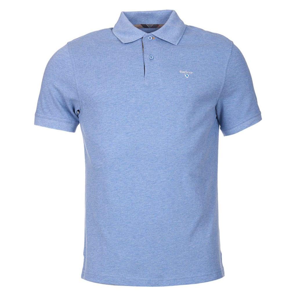 ac3b9498dd77 Barbour Tartan Cotton Pique Polo Shirt Sky Marl