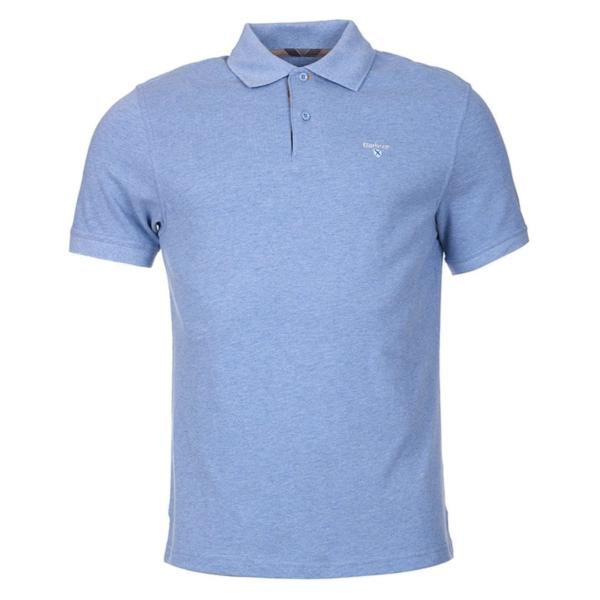 Barbour Tartan Cotton Pique Polo Shirt Sky Marl