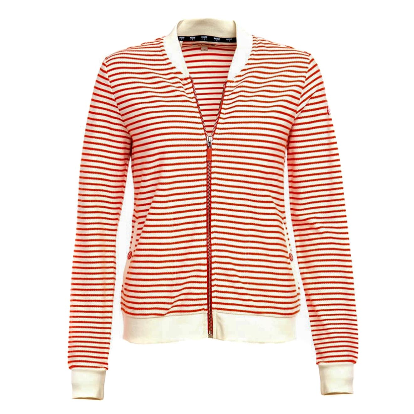 The Barbour Womens Banburgh Sweater offers a more sporty sweater in a bomber jacket shape made from a soft jersey cotton. It has an attractive striped design, with solid colour to contrast at the collar, hem and cuffs for a neat look. With softly ribbed hem and cuffs, this sweat is super comfortable to wear and gives a flattering appearance. The sweat features a full zip to the front, welt pockets and the iconic Barbour Beacon studs bring it back to its classic Barbour feel. Available in alternative colours.