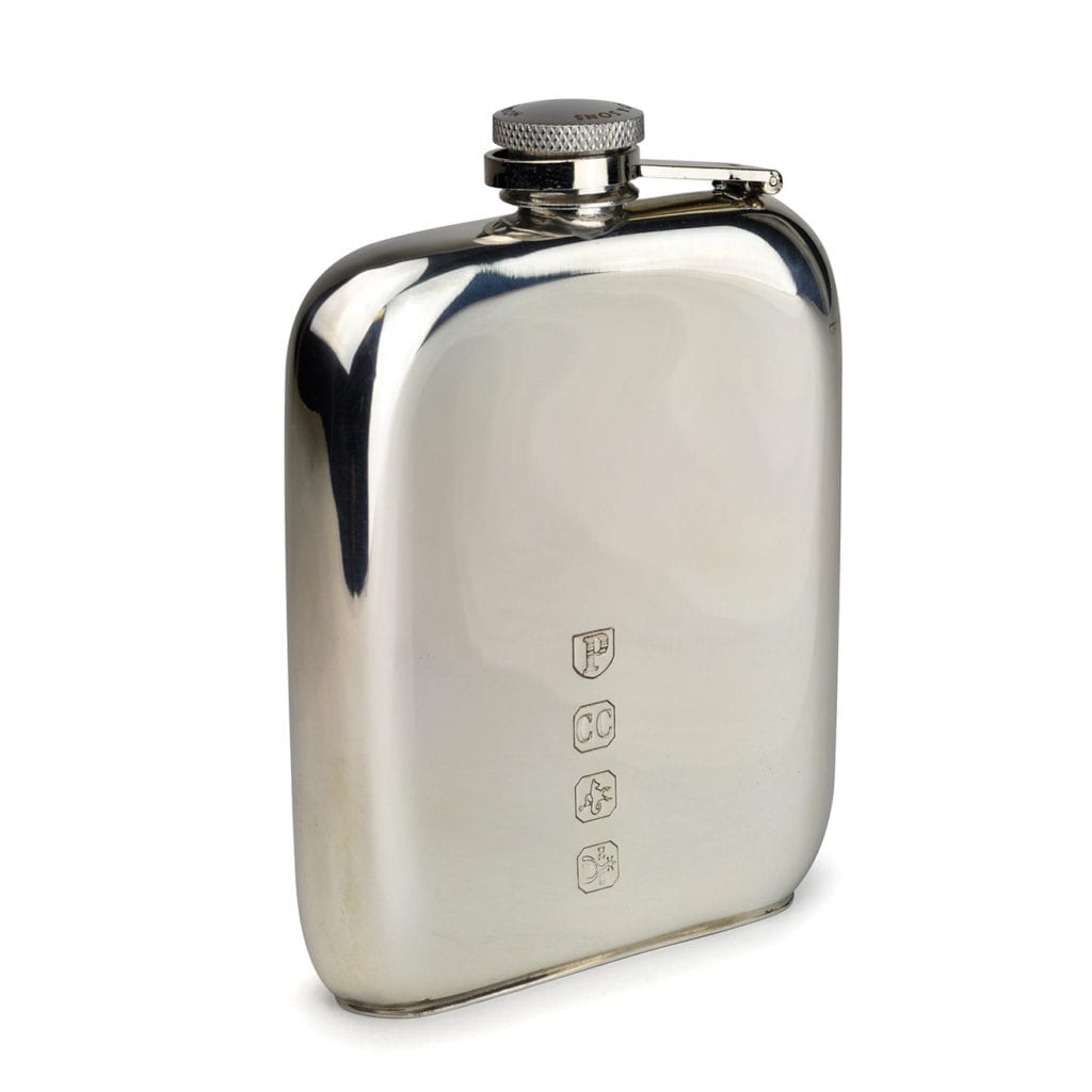 James Purdey 6oz Kidney Flat Base Pewter Flask