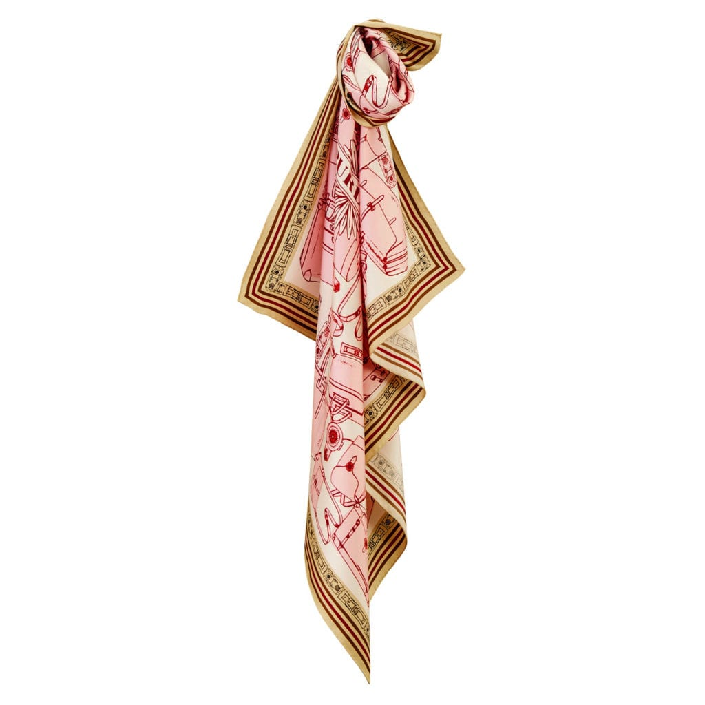 James Purdey Luggage Print Scarf Pink Sand