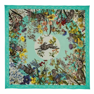 James Purdey Running Hare Print Scarf Mint