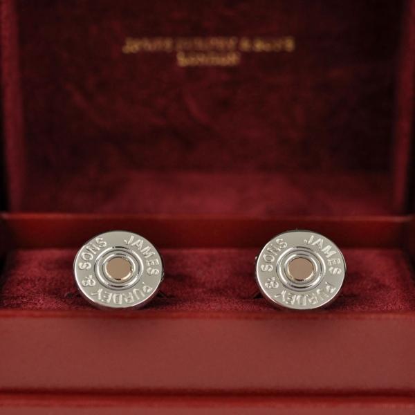 James Purdey Silver Cartridge Cap Cufflinks