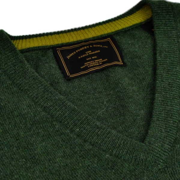James Purdey V Neck Cashmere Sweater Loden Green