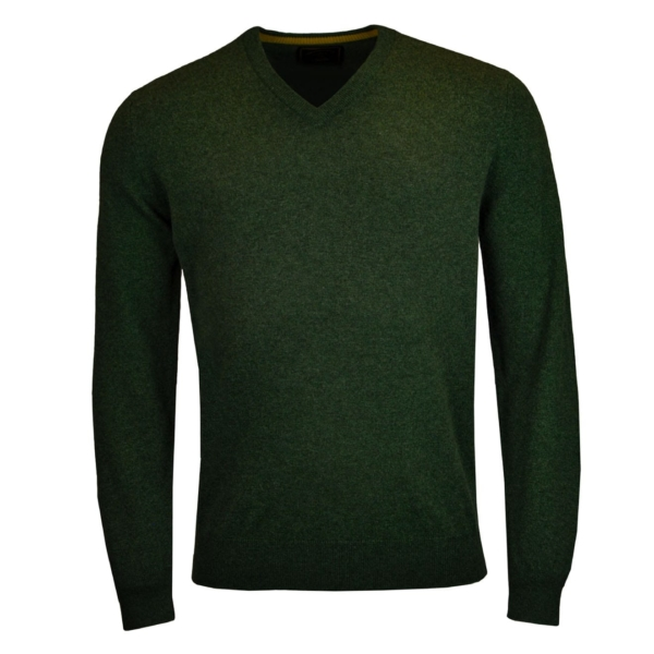 James Purdey V Neck Cashmere Sweater Loden Green