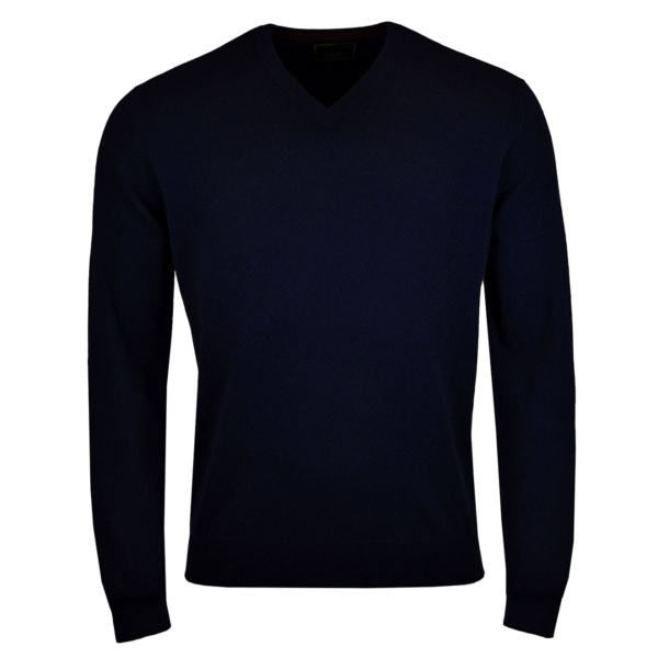 James Purdey V Neck Cashmere Sweater Navy