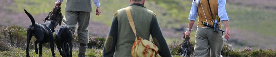 Country Folk Hunting With Dogs and Carrying Sports Game Bags