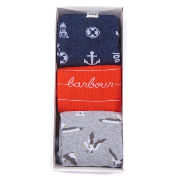 Barbour Coastal Socks 3 Pack Navy Orange