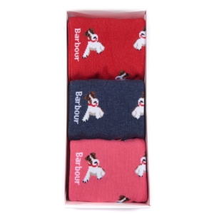 Barbour Terrier Socks 3 Pack Navy Raspberry