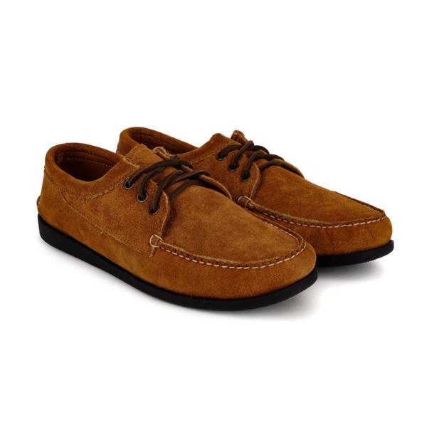 Quoddy Blucher Moccasin Shoe Toast Suede