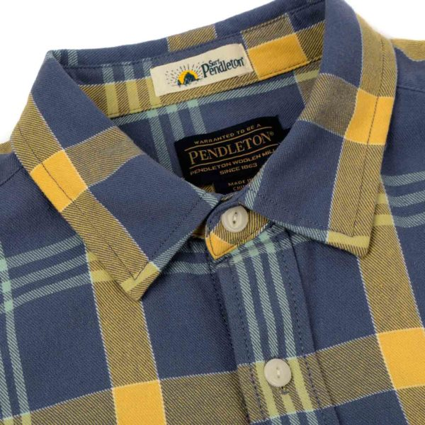 Pendleton Beach Shack Twill Shirt Washed Indigo/Ochre Plaid