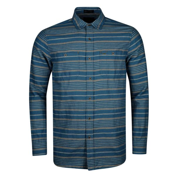 Pendleton Kay Street Print Fitted Shirt Navy/Cream Stripe