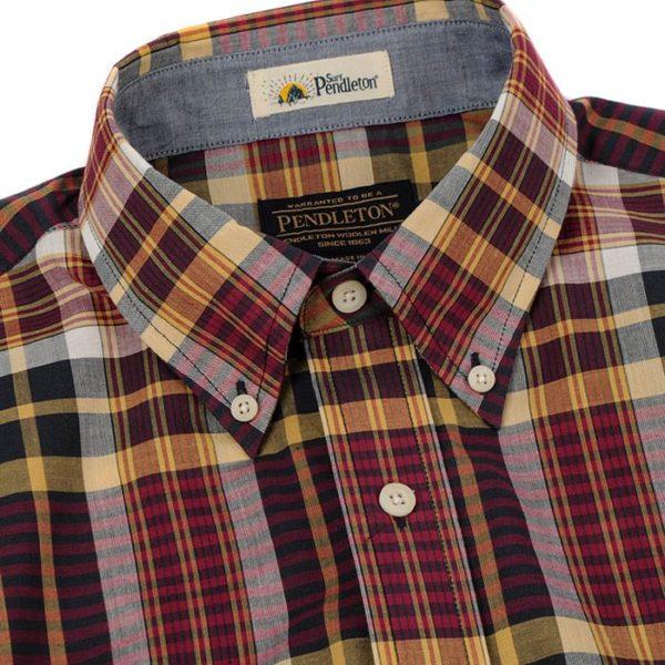 Pendleton Seaside Button Down Short Sleeve Shirt Plum/Navy/Gold Plaid