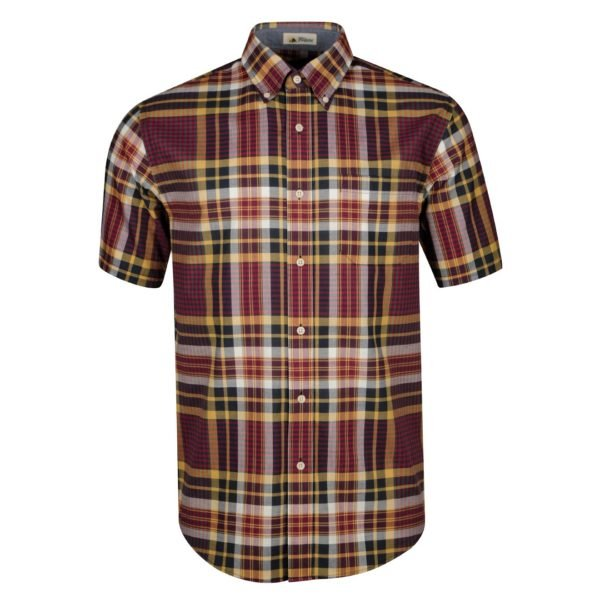 Pendleton Seaside Button Down Short Sleeve Shirt Plum/Navy/Gold Plaid