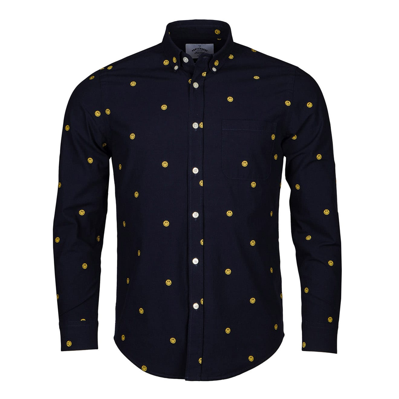Portuguese Flannel Smiley Face Shirt Navy