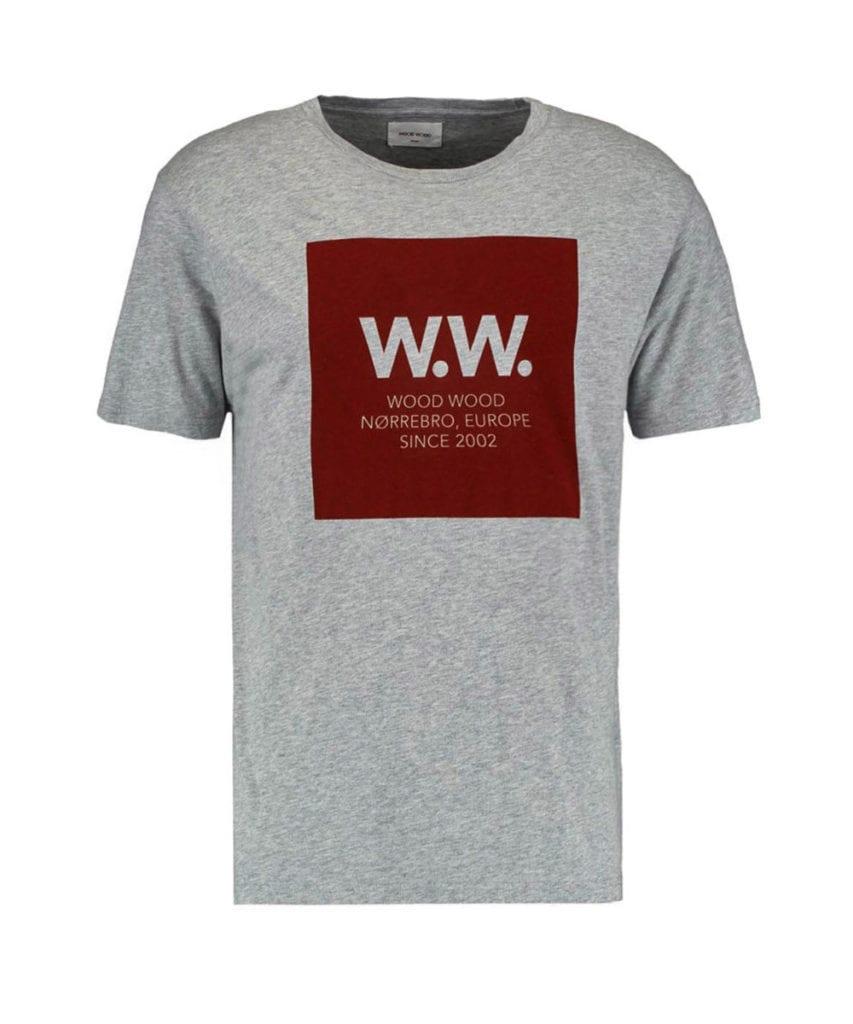 Wood Wood WW Square Logo T-Shirt Grey