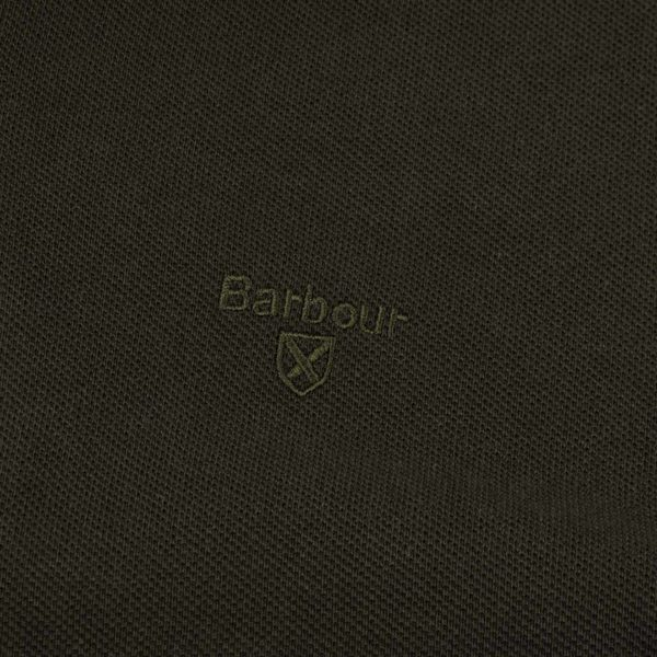 Barbour Long Sleeve Sports Polo Forest - Close up - The Sporting Lodge