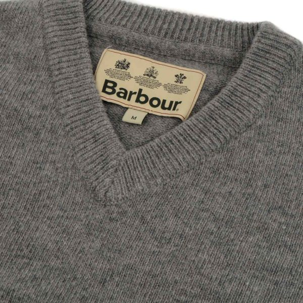 Barbour Nelson Essential V-Neck Sweater New Grey Marl