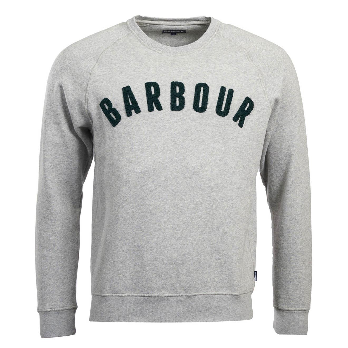 2e31f83507080 Barbour Prep Logo Crew Sweatshirt Grey Marl - The Sporting Lodge