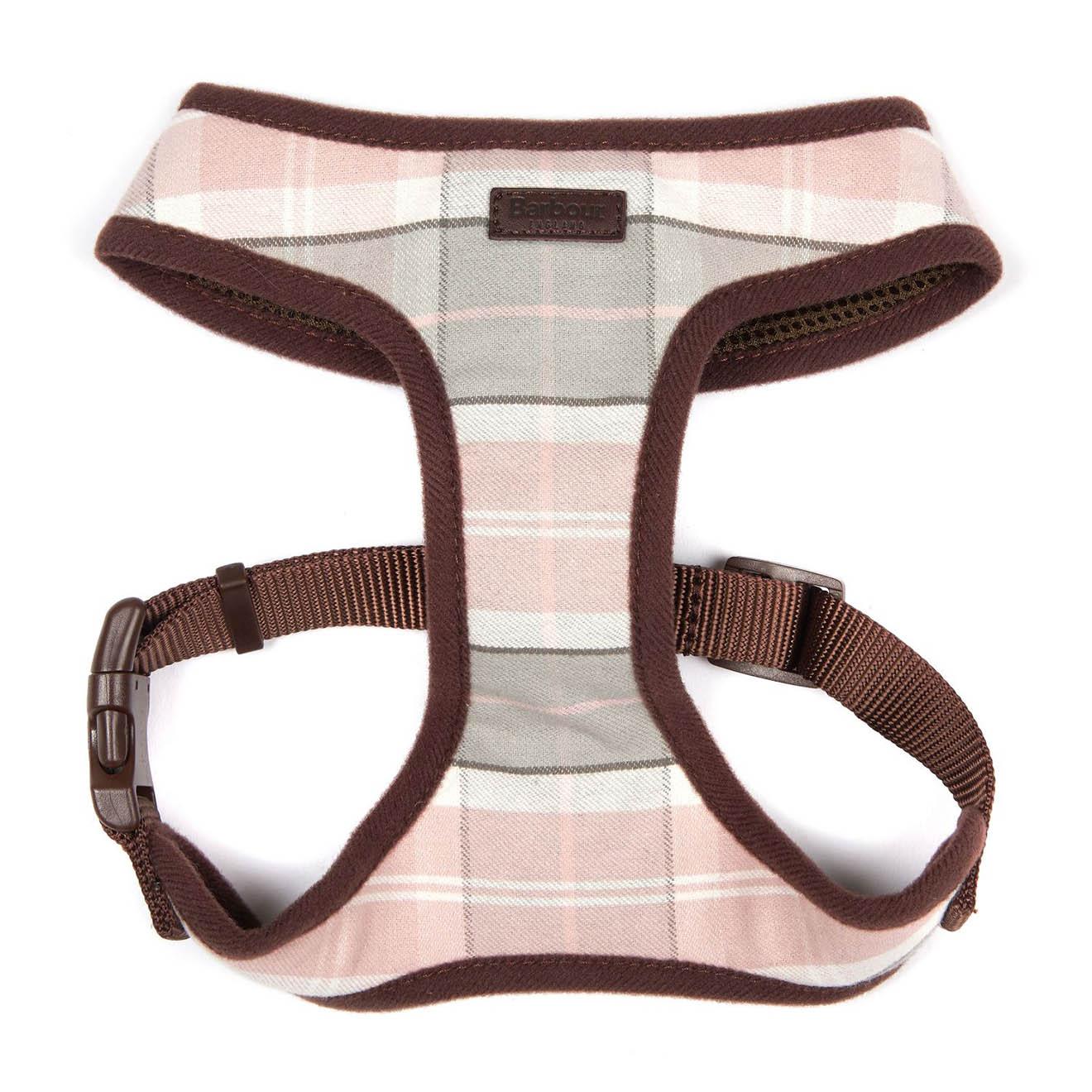 Barbour Tartan Dog Harness Pink/Grey Tartan