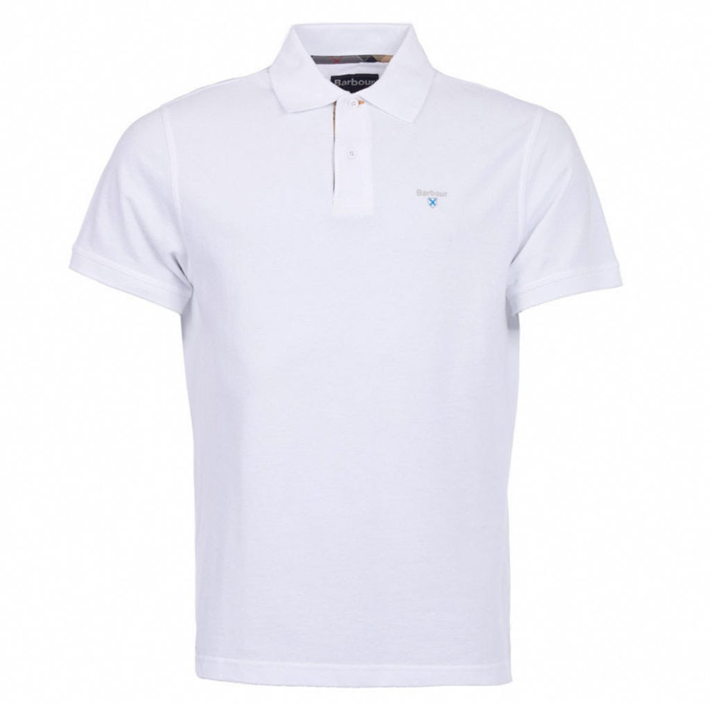 Barbour Tartan Pique Polo Shirt Dress White