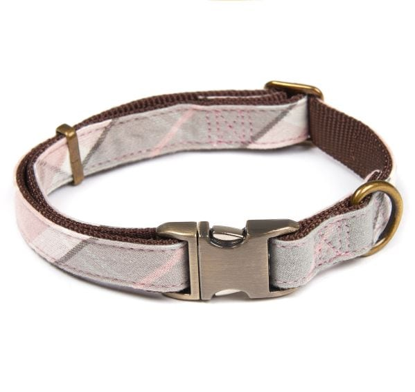 Barbour Tartan Webbing Collar Pink Grey
