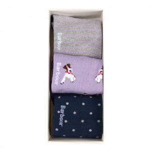 Barbour Terrier Socks 3 Pack Navy/Lilac