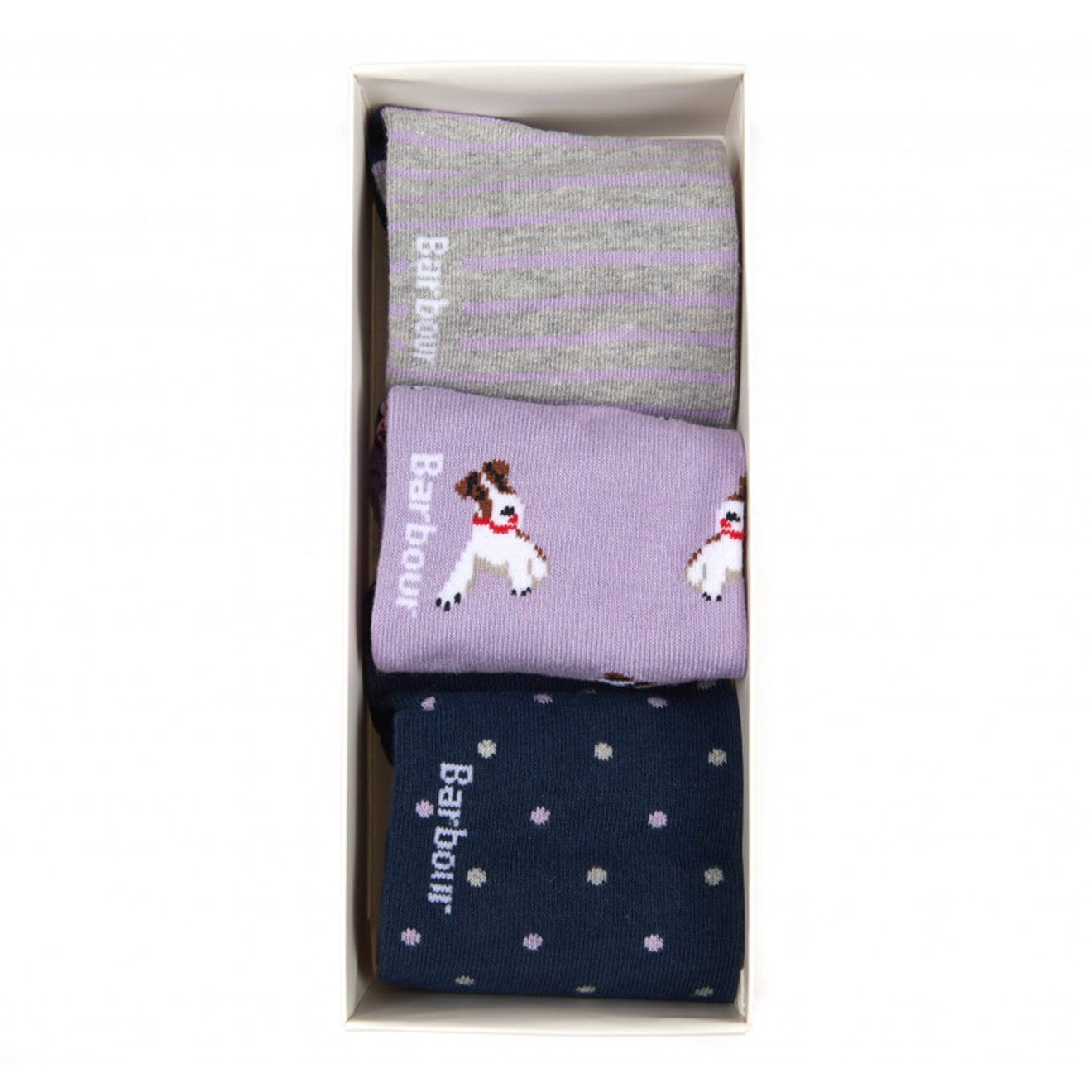 Barbour Terrier Socks 3 Pack Navy/Lilac
