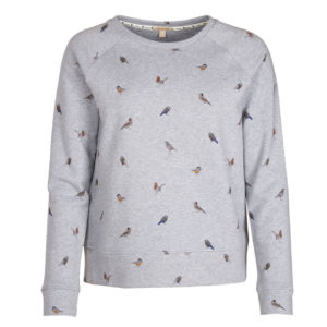 Barbour Womens Bowfell Print Sweat Light Grey Marl