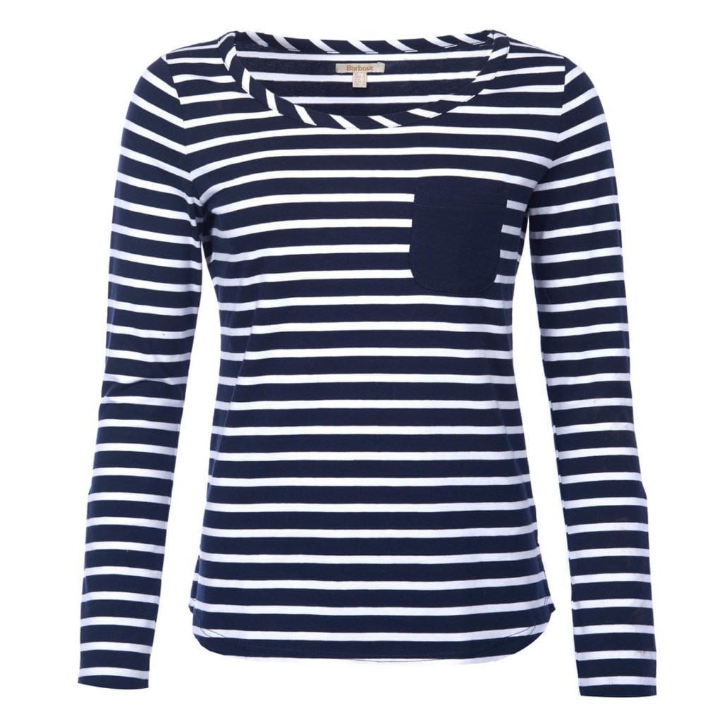 Barbour Womens Newquay Long Sleeve Top Navy/White