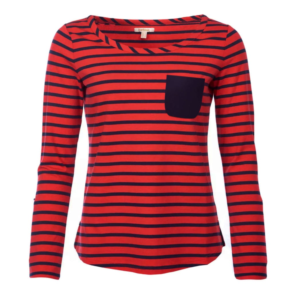 Barbour Womens Newquay Long Sleeve Top Reef Red/Navy