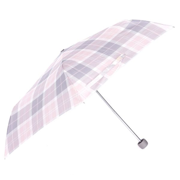 Barbour Womens Portree Umbrella Pink/Grey Tartan
