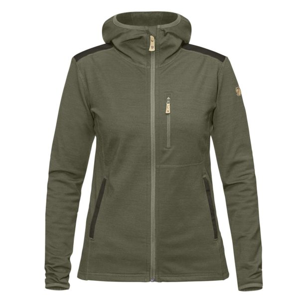 Fjallraven Womens Keb Fleece Hoodie Laurel Green/Deep Forest