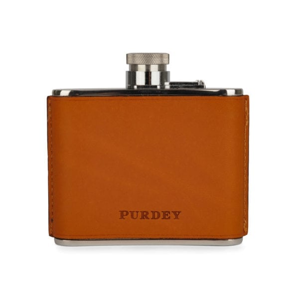 James Purdey 4oz Hand Stitched Leather Flask Tan