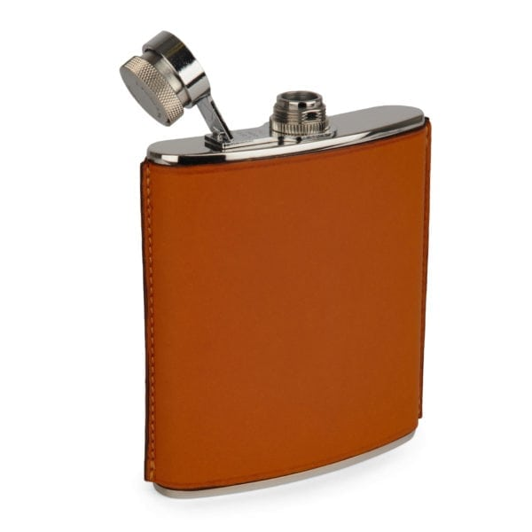 James Purdey 6oz Hand Stitched Leather Flask Tan