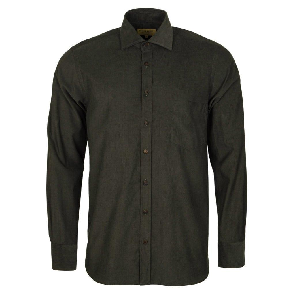 James Purdey Needle Cord Shirt Khaki Green